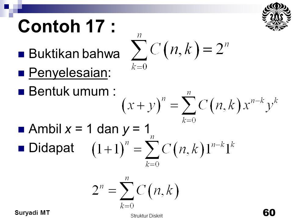 Suryadi MT Contoh 17 : Buktikan bahwa Penyelesaian: Bentuk umum : Ambil x = 1 dan y = 1 Didapat Struktur Diskrit 60
