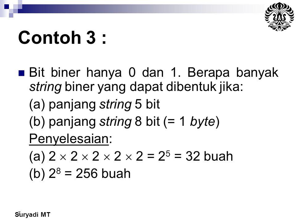 Suryadi MT 7 Contoh 3 : Bit biner hanya 0 dan 1. Berapa banyak string biner yang dapat dibentuk jika: (a) panjang string 5 bit (b) panjang string 8 bi