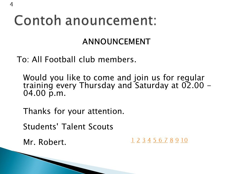 ANNOUNCEMENT To: All Football club members.