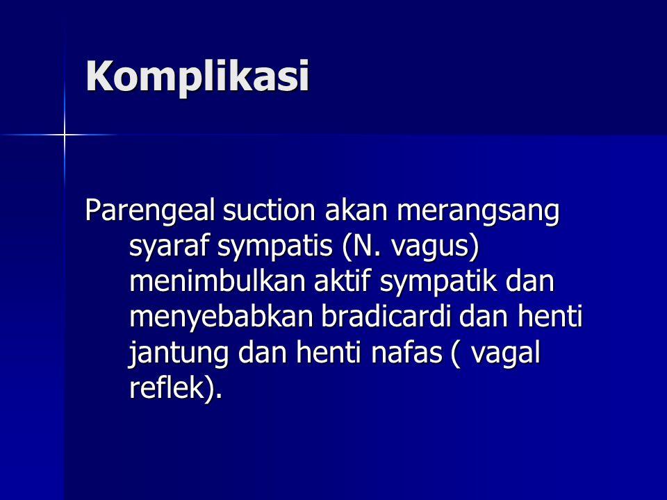 Komplikasi Parengeal suction akan merangsang syaraf sympatis (N.