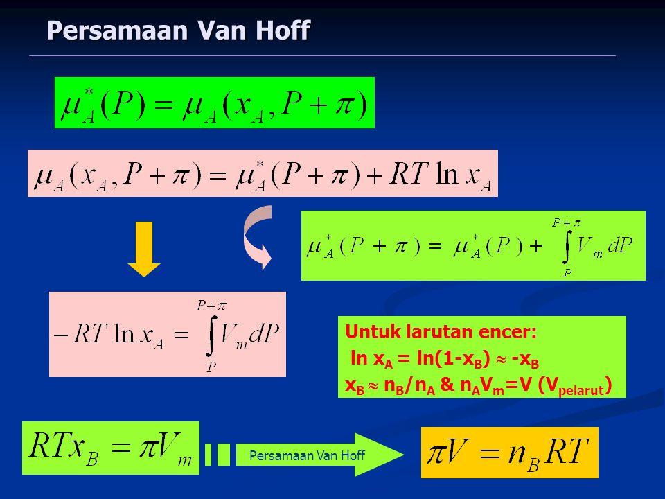 Persamaan Van Hoff Untuk larutan encer: ln x A = ln(1-x B )  -x B x B  n B /n A & n A V m =V (V pelarut ) Persamaan Van Hoff