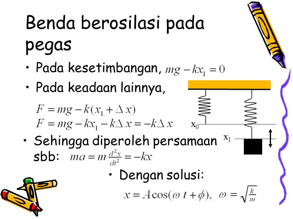 Benda berosilasi pada pegas Pada kesetimbangan, Pada keadaan lainnya, Sehingga diperoleh persamaan sbb: Dengan solusi: x1x1 x0x0