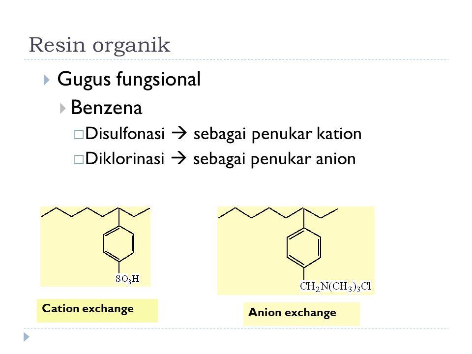 Resin organik  Gugus fungsional  Benzena  Disulfonasi  sebagai penukar kation  Diklorinasi  sebagai penukar anion Cation exchange Anion exchange
