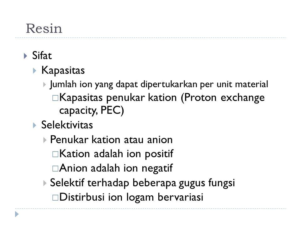 Resin  Sifat  Kapasitas  Jumlah ion yang dapat dipertukarkan per unit material  Kapasitas penukar kation (Proton exchange capacity, PEC)  Selekti