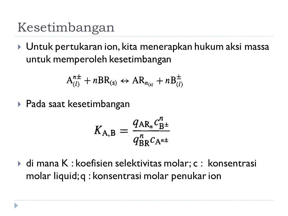 Kesetimbangan  Untuk pertukaran ion, kita menerapkan hukum aksi massa untuk memperoleh kesetimbangan  Pada saat kesetimbangan  di mana K : koefisie