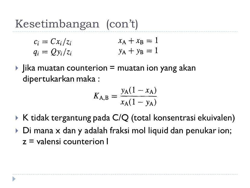 Kesetimbangan (con't)  Jika muatan counterion = muatan ion yang akan dipertukarkan maka :  K tidak tergantung pada C/Q (total konsentrasi ekuivalen)