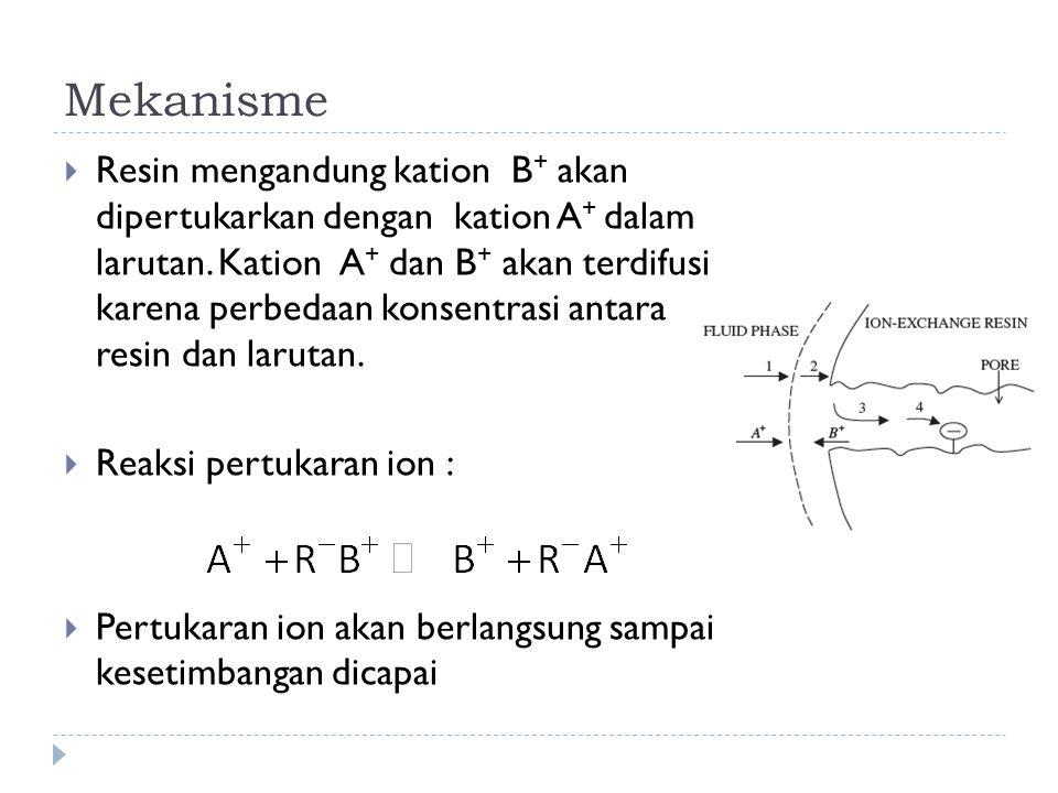 Kesetimbangan (con't)  Apabila muatan counterion ≠ muatan ion yang dipertukarkan, maka :  K dipengaruhi oleh rasio C/Q dan rasio muatan n  C : total konsentrasi ekuivalen (eq/L) larutan; Q : total konsentrasi ekuivalen (eq/L) penukar ion