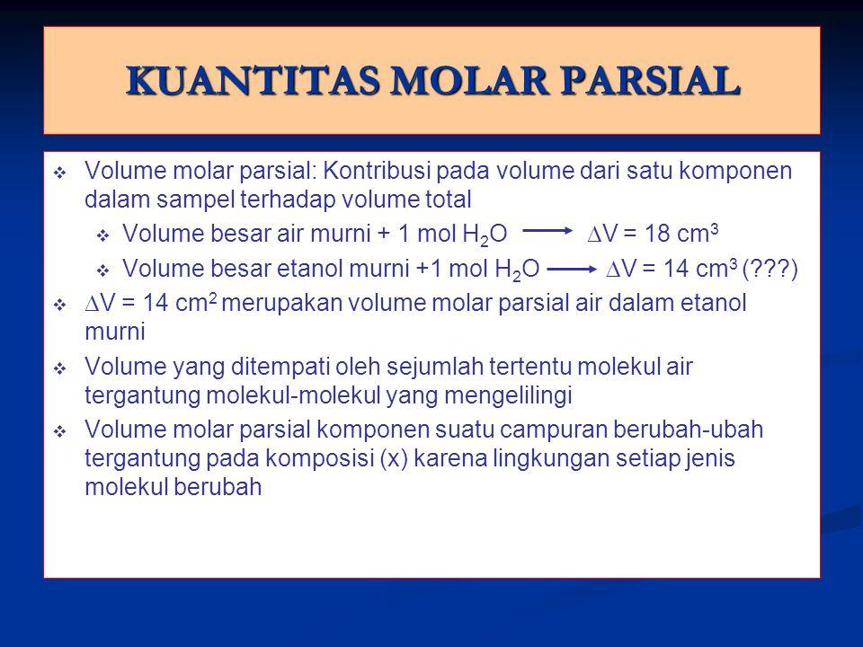 KUANTITAS MOLAR PARSIAL v v Volume molar parsial: Kontribusi pada volume dari satu komponen dalam sampel terhadap volume total v v Volume besar air murni + 1 mol H 2 O  V = 18 cm 3 v v Volume besar etanol murni +1 mol H 2 O  V = 14 cm 3 (???) v v  V = 14 cm 2 merupakan volume molar parsial air dalam etanol murni v v Volume yang ditempati oleh sejumlah tertentu molekul air tergantung molekul-molekul yang mengelilingi v v Volume molar parsial komponen suatu campuran berubah-ubah tergantung pada komposisi (x) karena lingkungan setiap jenis molekul berubah