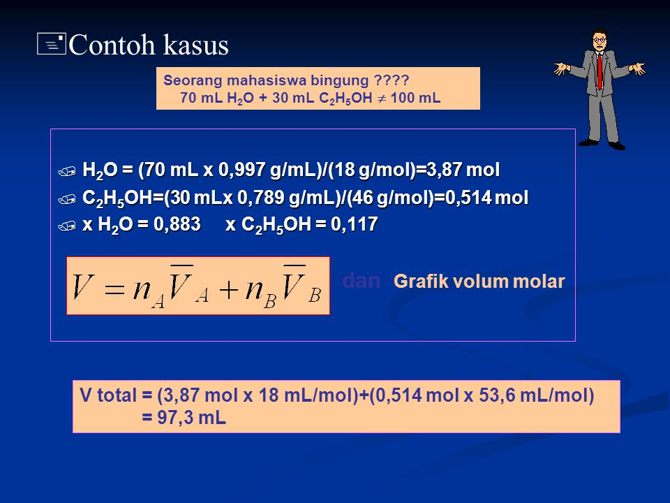 / H 2 O = (70 mL x 0,997 g/mL)/(18 g/mol)=3,87 mol / C 2 H 5 OH=(30 mLx 0,789 g/mL)/(46 g/mol)=0,514 mol / x H 2 O = 0,883 x C 2 H 5 OH = 0,117 + Cont
