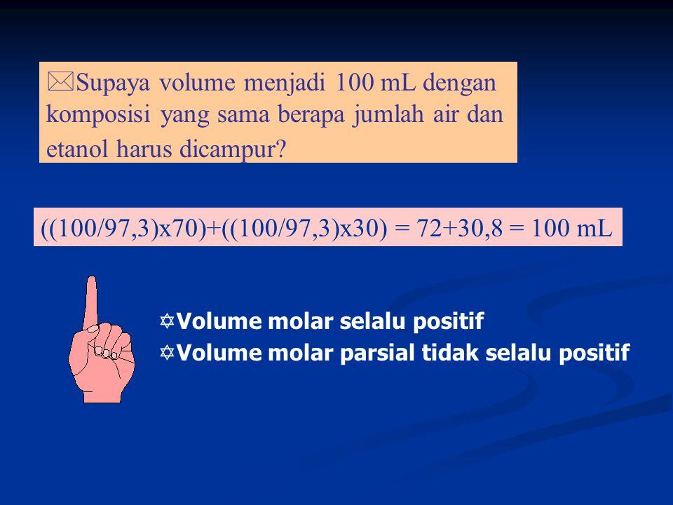 Termodinamika Pencampuran 2 gas sempurna dalam 2 wadah: 2 gas sempurna dalam 2 wadah: G i = n A µ A + n B µ B Fungsi Gibbs Pencampuran dinyatakan:  G mix = nRT(x A ln x A + x B ln x B ) Entropi Pencampuran dinyatakan:  S mix = - nR(x A ln x A + x B ln x B ) Entalpi Pencampuran dinyatakan:  H mix = 0 (untuk p dan T tetap)