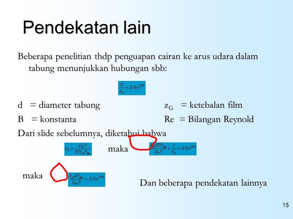 15 Pendekatan lain Beberapa penelitian thdp penguapan cairan ke arus udara dalam tabung menunjukkan hubungan sbb: d = diameter tabungz G = ketebalan f