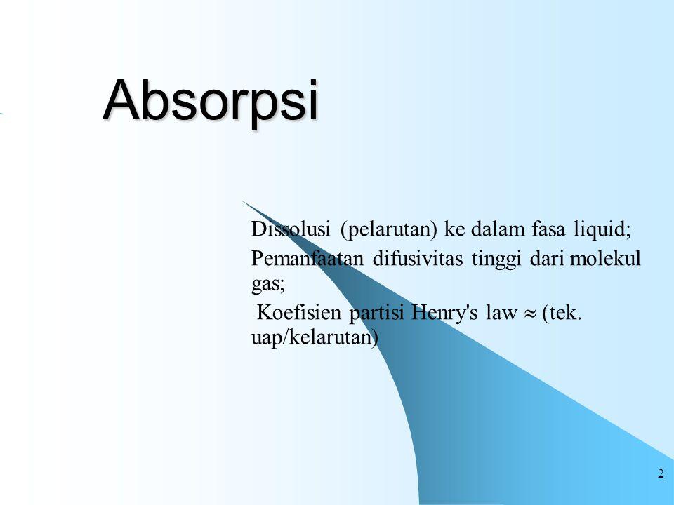 2 Absorpsi Dissolusi (pelarutan) ke dalam fasa liquid; Pemanfaatan difusivitas tinggi dari molekul gas; Koefisien partisi Henry's law  (tek. uap/kela