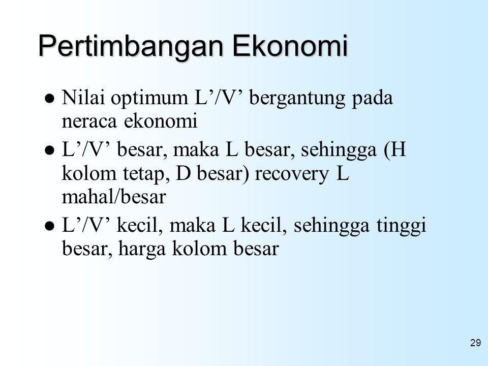 29 Pertimbangan Ekonomi Nilai optimum L'/V' bergantung pada neraca ekonomi L'/V' besar, maka L besar, sehingga (H kolom tetap, D besar) recovery L mah