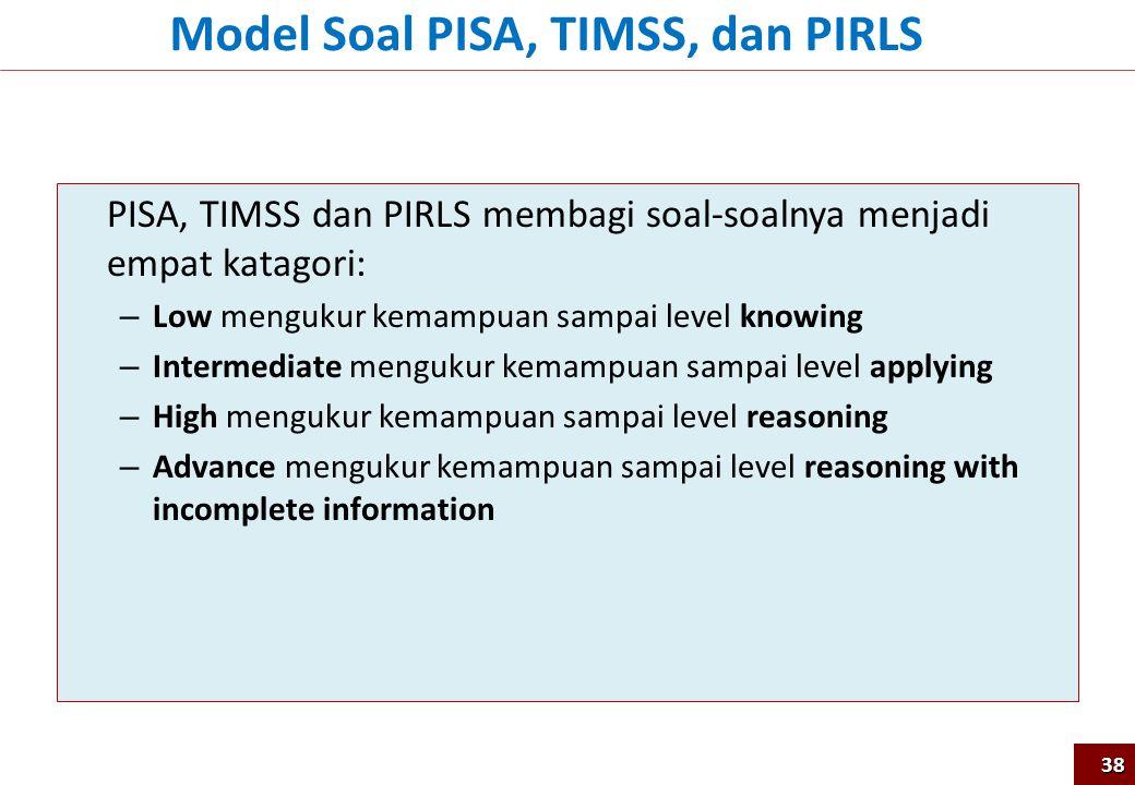 PISA, TIMSS dan PIRLS membagi soal-soalnya menjadi empat katagori: – Low mengukur kemampuan sampai level knowing – Intermediate mengukur kemampuan sam