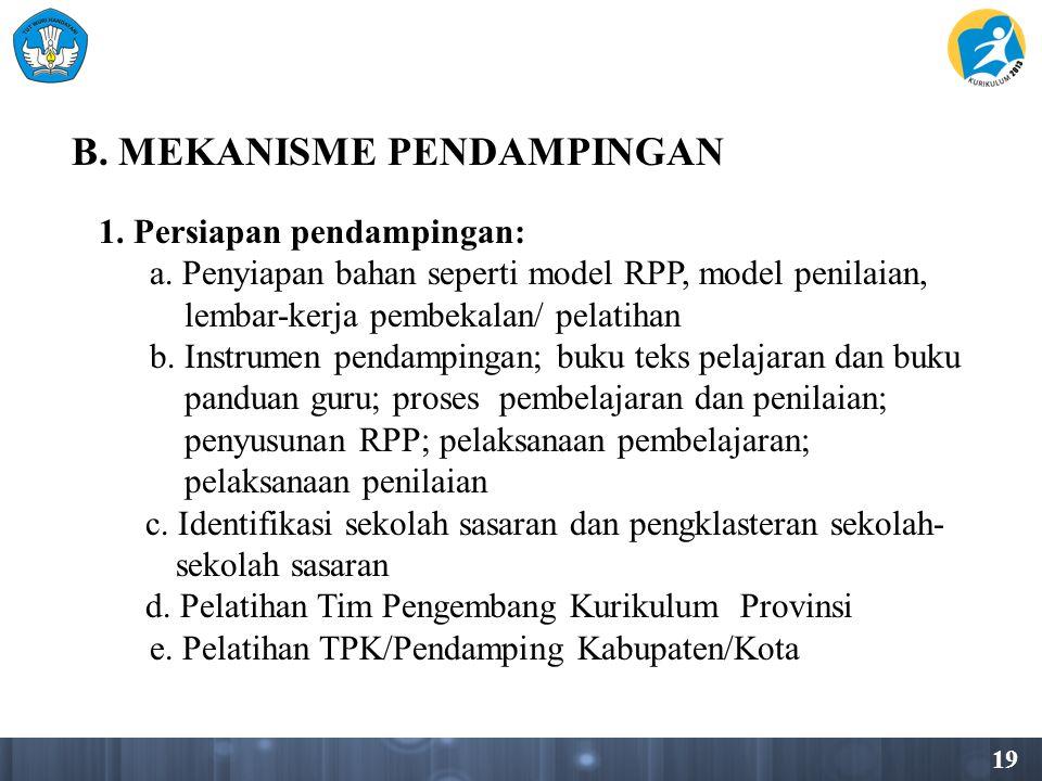 19 B.MEKANISME PENDAMPINGAN 1. Persiapan pendampingan: a.