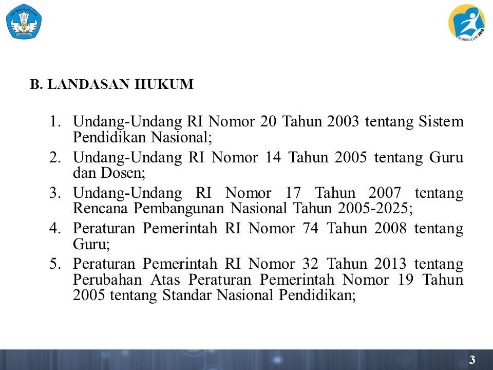 3 B. LANDASAN HUKUM 1.Undang-Undang RI Nomor 20 Tahun 2003 tentang Sistem Pendidikan Nasional; 2.Undang-Undang RI Nomor 14 Tahun 2005 tentang Guru dan