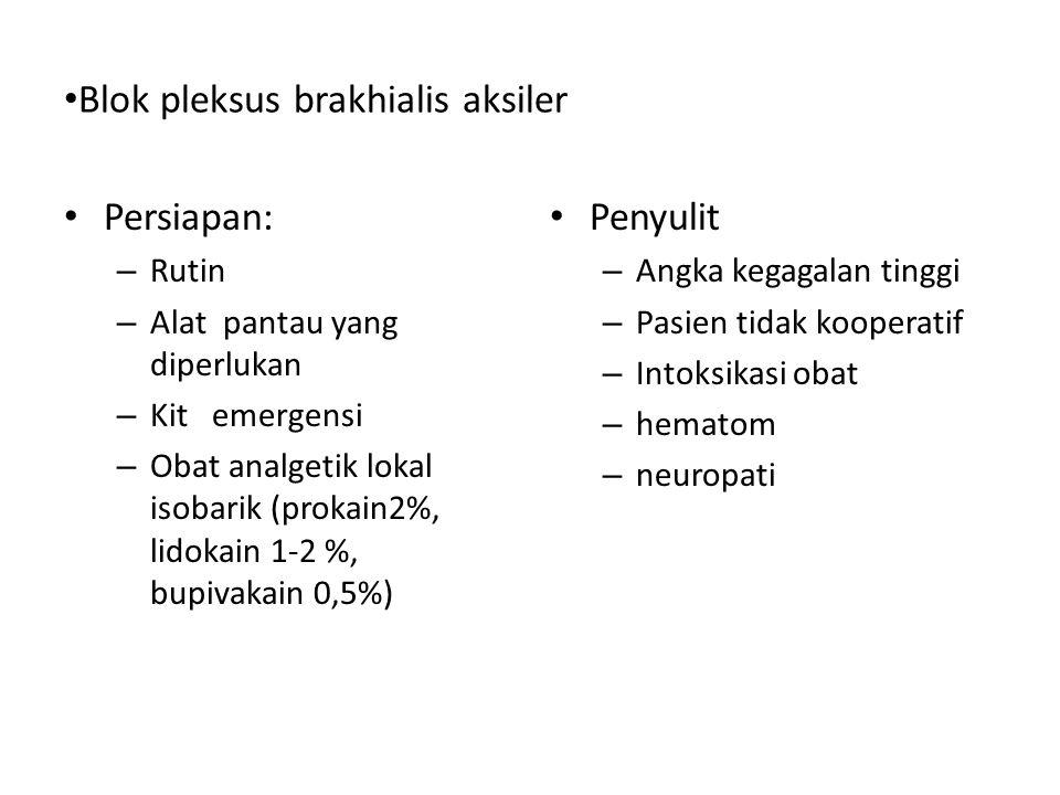 Persiapan: – Rutin – Alat pantau yang diperlukan – Kit emergensi – Obat analgetik lokal isobarik (prokain2%, lidokain 1-2 %, bupivakain 0,5%) Penyulit