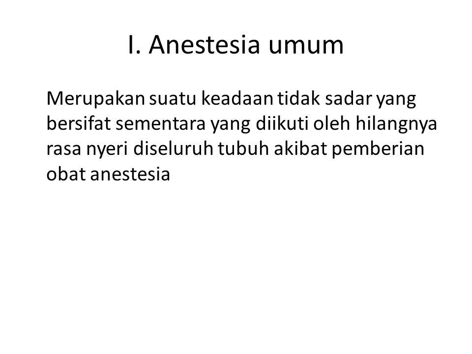 Anestesia intravena total – Tata laksananya: Pasien telah disiapkan sesuai dengan pedoman Pasang alat pantau yang diperlukan Siapkan alat-alat dan obat-obat resusitasi Siapkan alat bantu nafas manual/mekanik/mesin anestesi Induksi dapat dilakukan dengan diazepam + ketamin atau hipnotik lainnya, dilanjutkan dengan pemberian suksinil kholin iv untuk fasilitas intubasi Berikan nafas buatan melalui sungkup muka dengan O2 100% mempergunakan alat bantu nafas sampai fasikulasi hilangdan otot rahang relaksasi
