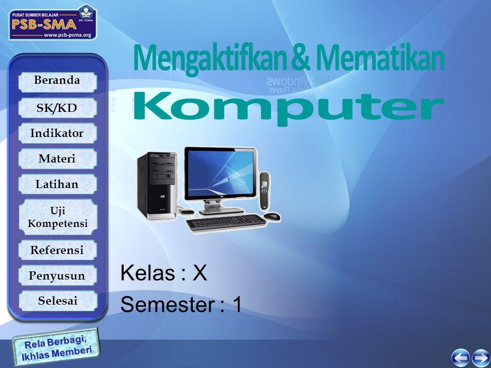 Beranda SK/KD Indikator Latihan Uji Kompetensi Referensi Penyusun Materi Selesai Mematikan Komputer  Pastikan semua program yang anda gunakan sudah ditutup  Klik (Tekan tombol mouse sebelah kiri) pada tombol START (Biasanya berada pada sudut kiri bawah dari desktop), Menu pada Dekstop.