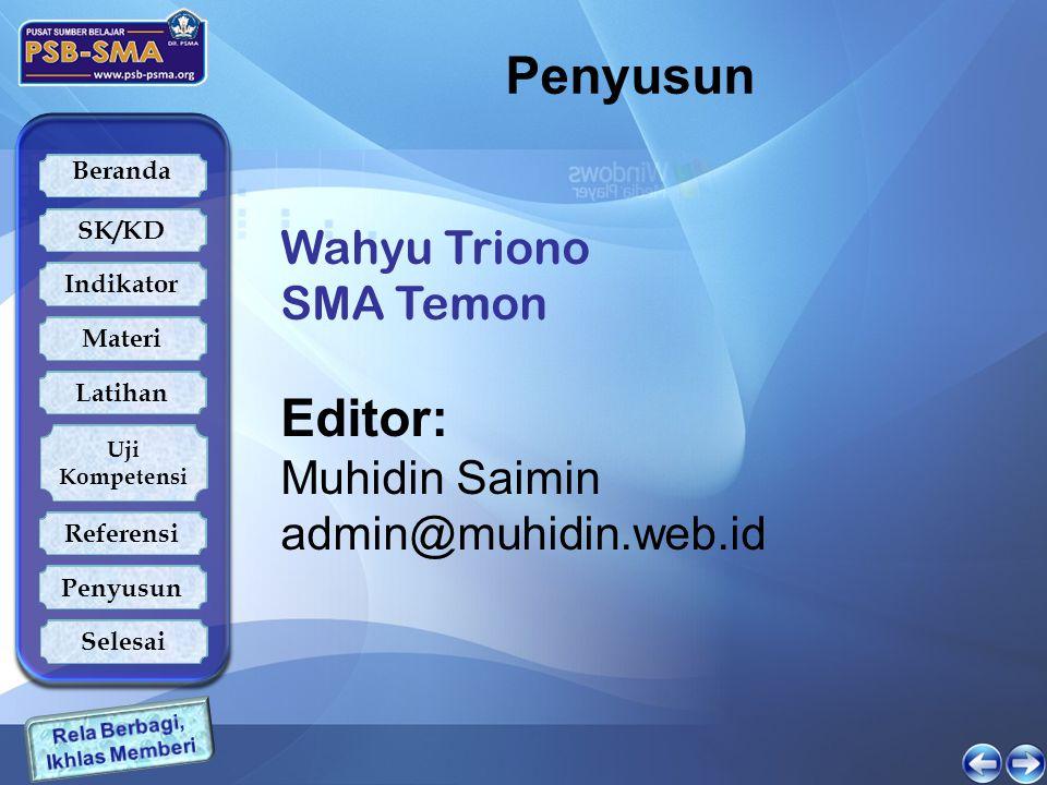 Beranda SK/KD Indikator Latihan Uji Kompetensi Referensi Penyusun Materi Selesai Penyusun Wahyu Triono SMA Temon Editor: Muhidin Saimin admin@muhidin.