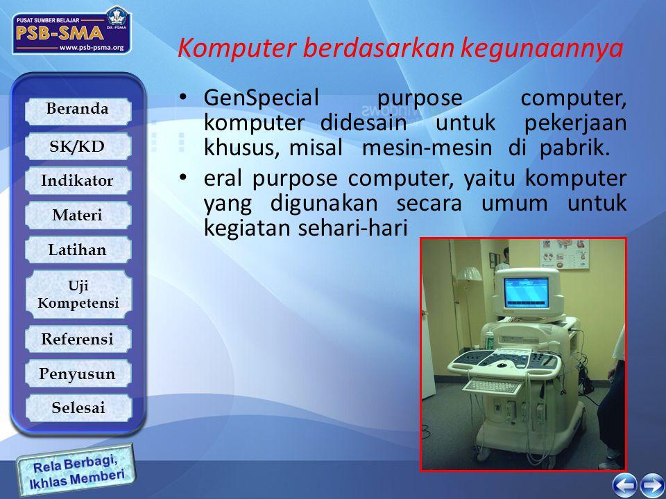 Beranda SK/KD Indikator Latihan Uji Kompetensi Referensi Penyusun Materi Selesai Komputer berdasarkan kegunaannya GenSpecial purpose computer, kompute