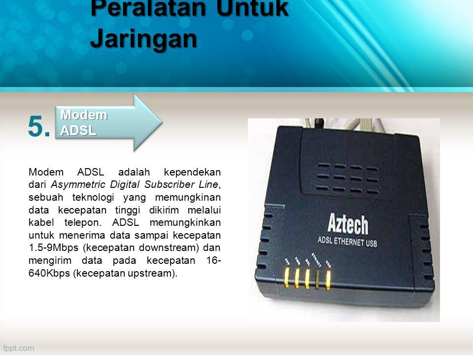 Modem ADSL adalah kependekan dari Asymmetric Digital Subscriber Line, sebuah teknologi yang memungkinan data kecepatan tinggi dikirim melalui kabel telepon.