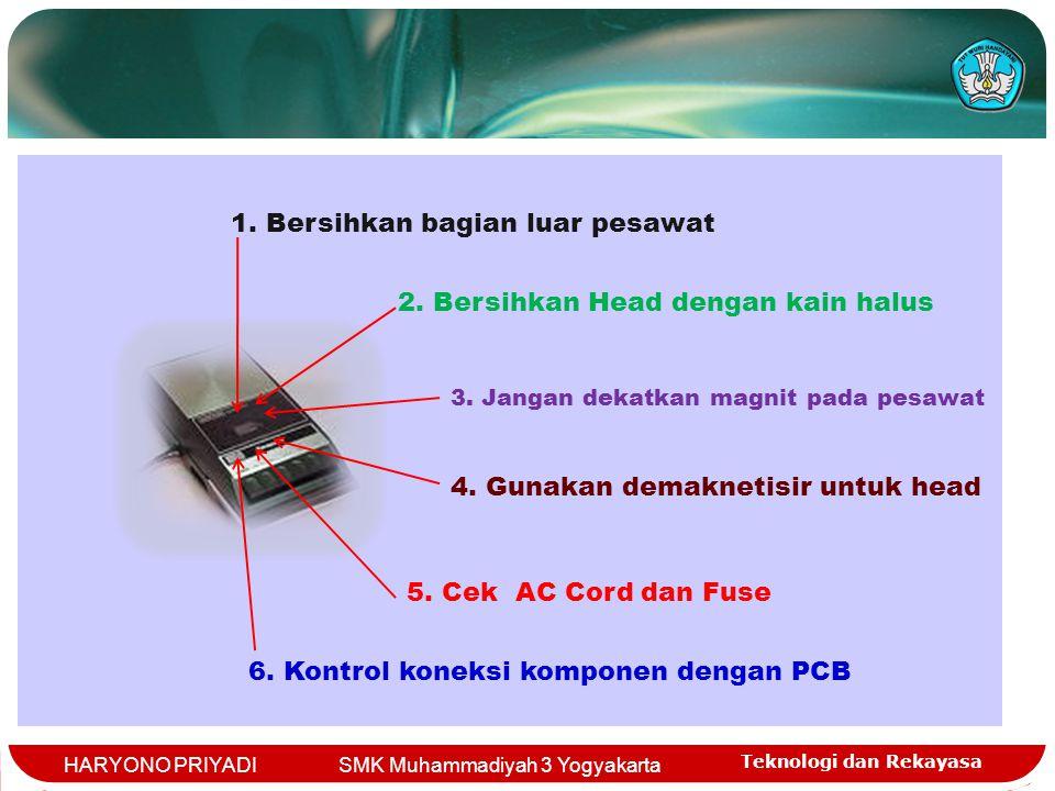 Teknologi dan Rekayasa HARYONO PRIYADI SMK Muhammadiyah 3 Yogyakarta 1. Bersihkan bagian luar pesawat 2. Bersihkan Head dengan kain halus 3. Jangan de