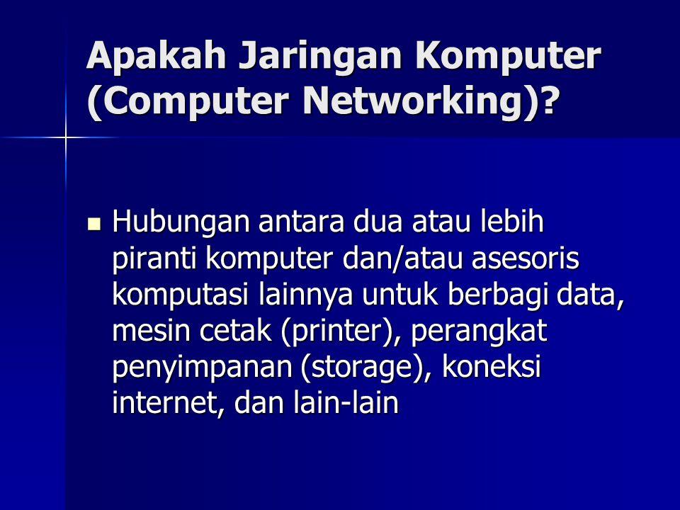 Apakah Jaringan Komputer (Computer Networking)? Hubungan antara dua atau lebih piranti komputer dan/atau asesoris komputasi lainnya untuk berbagi data