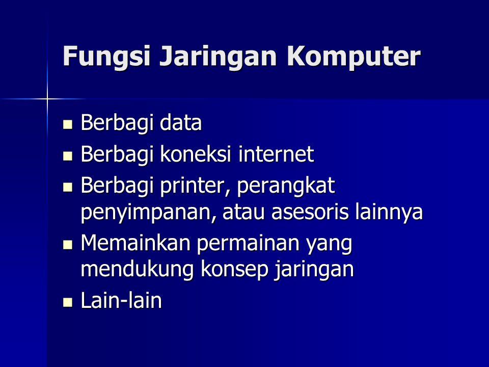 Fungsi Jaringan Komputer Berbagi data Berbagi data Berbagi koneksi internet Berbagi koneksi internet Berbagi printer, perangkat penyimpanan, atau ases