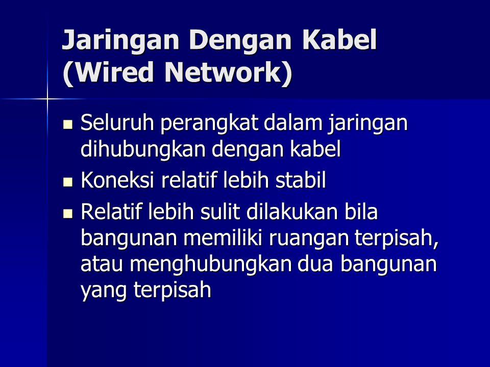Jaringan Dengan Kabel (Wired Network) Seluruh perangkat dalam jaringan dihubungkan dengan kabel Seluruh perangkat dalam jaringan dihubungkan dengan ka