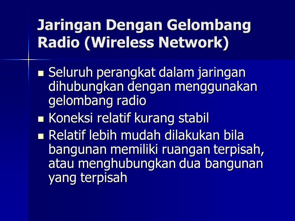 Jaringan Dengan Gelombang Radio (Wireless Network) Seluruh perangkat dalam jaringan dihubungkan dengan menggunakan gelombang radio Seluruh perangkat d