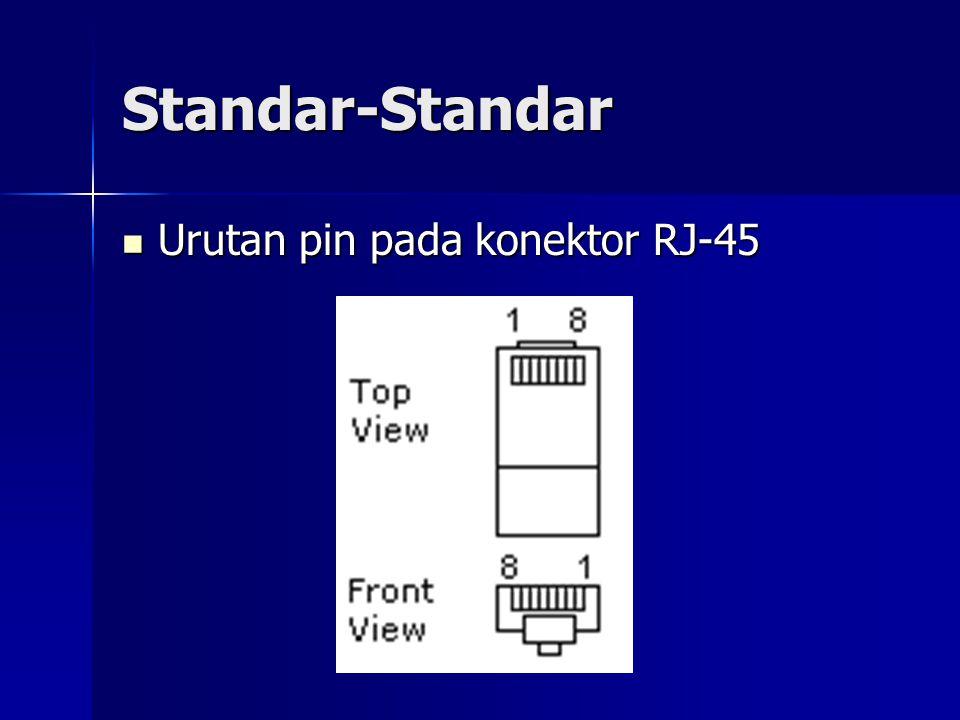 Standar-Standar Urutan pin pada konektor RJ-45 Urutan pin pada konektor RJ-45