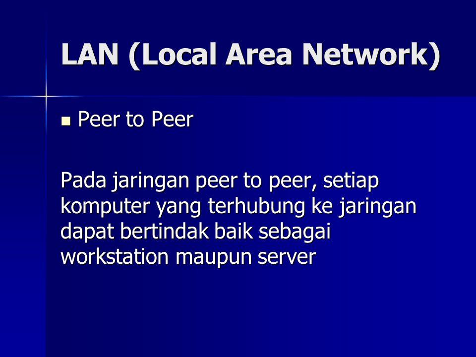 LAN (Local Area Network) Peer to Peer Peer to Peer Pada jaringan peer to peer, setiap komputer yang terhubung ke jaringan dapat bertindak baik sebagai