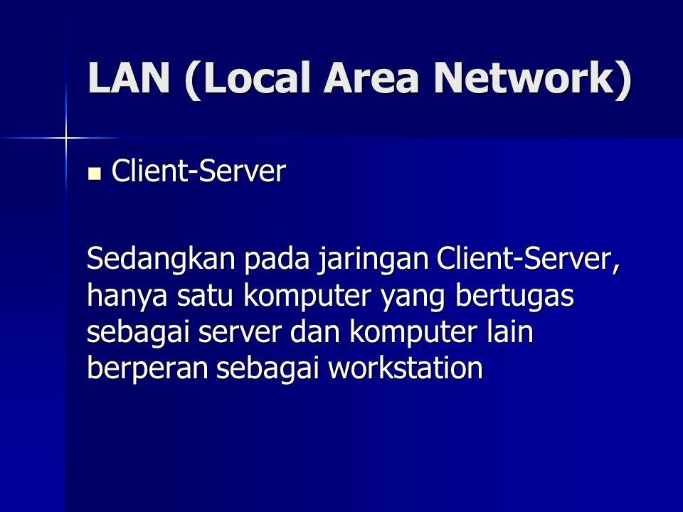 LAN (Local Area Network) LAN tersusun dari beberapa elemen dasar yang meliputi komponen hardware dan software, yaitu :