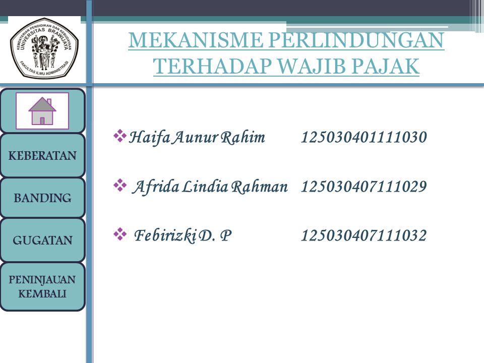  Haifa Aunur Rahim125030401111030  Afrida Lindia Rahman125030407111029  Febirizki D. P125030407111032 BANDING GUGATAN PENINJAUAN KEMBALI MEKANISME