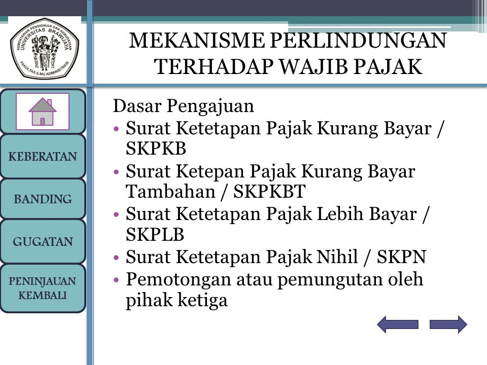 Dasar Pengajuan Surat Ketetapan Pajak Kurang Bayar / SKPKB Surat Ketepan Pajak Kurang Bayar Tambahan / SKPKBT Surat Ketetapan Pajak Lebih Bayar / SKPL