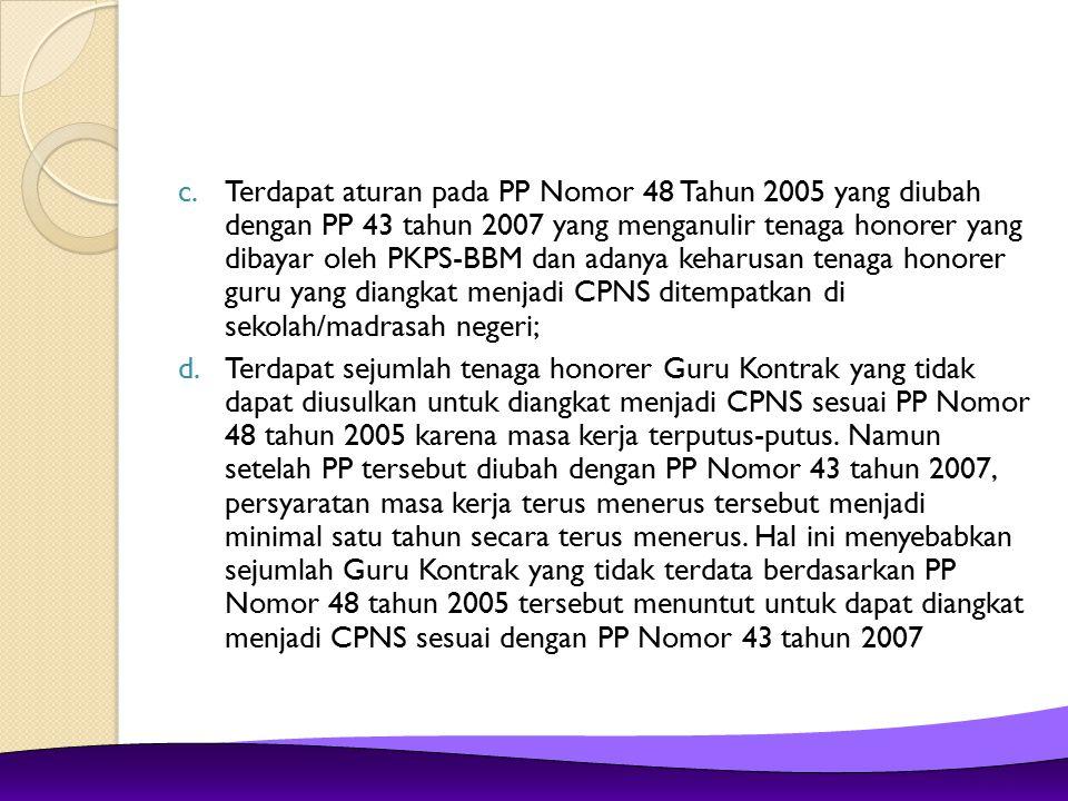 Tabel 6 Formasi Pengangkatan CPNS di lingkungan Departemen Agama
