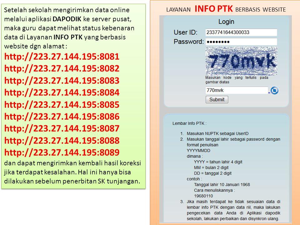 Setelah sekolah mengirimkan data online melalui aplikasi DAPODIK ke server pusat, maka guru dapat melihat status kebenaran data di Layanan INFO PTK yang berbasis website dgn alamat : http://223.27.144.195:8081 http://223.27.144.195:8082 http://223.27.144.195:8083 http://223.27.144.195:8084 http://223.27.144.195:8085 http://223.27.144.195:8086 http://223.27.144.195:8087 http://223.27.144.195:8088 http://223.27.144.195:8089 dan dapat mengirimkan kembali hasil koreksi jika terdapat kesalahan.
