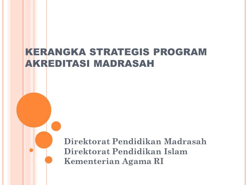KERANGKA STRATEGIS PROGRAM AKREDITASI MADRASAH Direktorat Pendidikan Madrasah Direktorat Pendidikan Islam Kementerian Agama RI