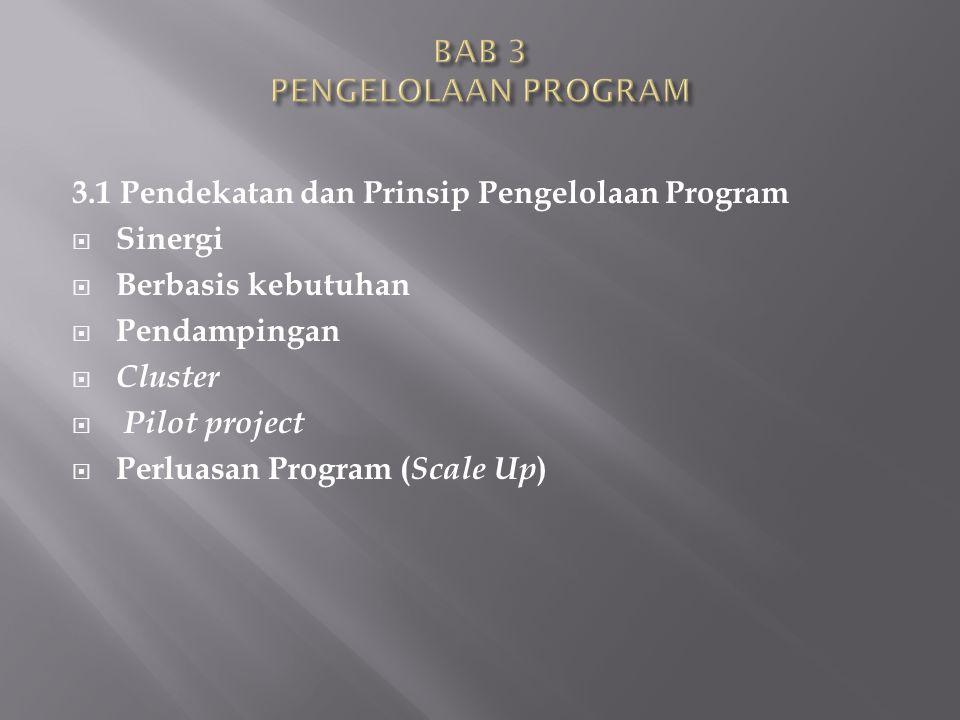 3.1 Pendekatan dan Prinsip Pengelolaan Program  Sinergi  Berbasis kebutuhan  Pendampingan  Cluster  Pilot project  Perluasan Program ( Scale Up )