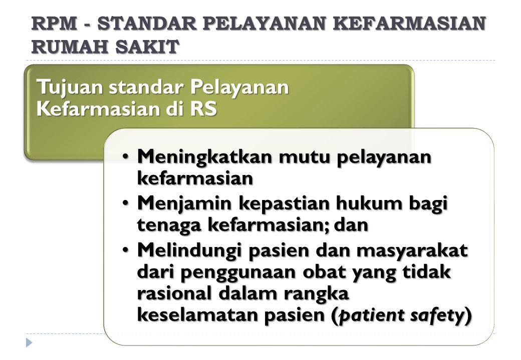 Tujuan standar Pelayanan Kefarmasian di RS Meningkatkan mutu pelayanan kefarmasianMeningkatkan mutu pelayanan kefarmasian Menjamin kepastian hukum bagi tenaga kefarmasian; danMenjamin kepastian hukum bagi tenaga kefarmasian; dan Melindungi pasien dan masyarakat dari penggunaan obat yang tidak rasional dalam rangka keselamatan pasien (patient safety)Melindungi pasien dan masyarakat dari penggunaan obat yang tidak rasional dalam rangka keselamatan pasien (patient safety) RPM - STANDAR PELAYANAN KEFARMASIAN RUMAH SAKIT
