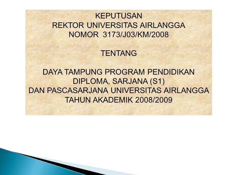 KEPUTUSAN REKTOR UNIVERSITAS AIRLANGGA NOMOR 3173/J03/KM/2008 TENTANG DAYA TAMPUNG PROGRAM PENDIDIKAN DIPLOMA, SARJANA (S1) DAN PASCASARJANA UNIVERSITAS AIRLANGGA TAHUN AKADEMIK 2008/2009