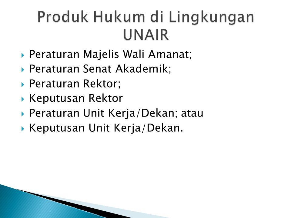  Peraturan Majelis Wali Amanat;  Peraturan Senat Akademik;  Peraturan Rektor;  Keputusan Rektor  Peraturan Unit Kerja/Dekan; atau  Keputusan Unit Kerja/Dekan.