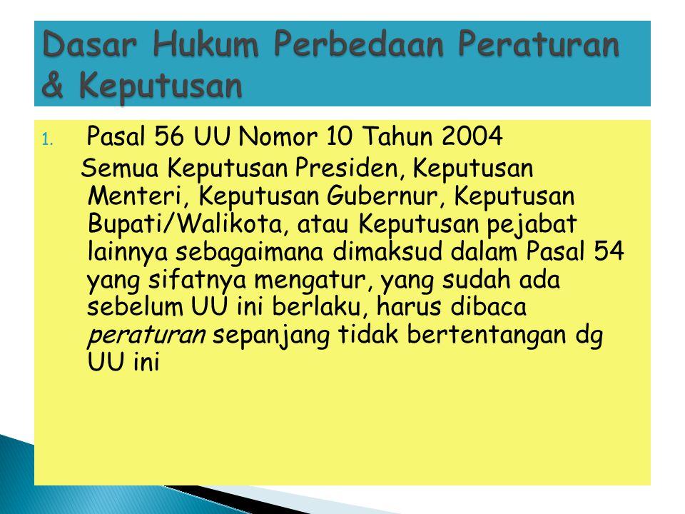 1. Pasal 56 UU Nomor 10 Tahun 2004 Semua Keputusan Presiden, Keputusan Menteri, Keputusan Gubernur, Keputusan Bupati/Walikota, atau Keputusan pejabat