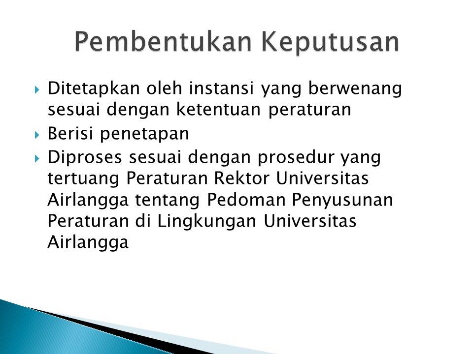  Ditetapkan oleh instansi yang berwenang sesuai dengan ketentuan peraturan  Berisi penetapan  Diproses sesuai dengan prosedur yang tertuang Peraturan Rektor Universitas Airlangga tentang Pedoman Penyusunan Peraturan di Lingkungan Universitas Airlangga