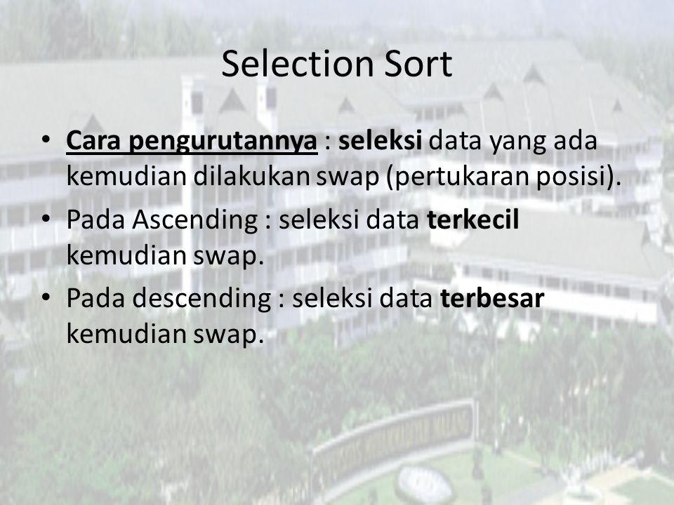 Selection Sort Cara pengurutannya : seleksi data yang ada kemudian dilakukan swap (pertukaran posisi). Pada Ascending : seleksi data terkecil kemudian