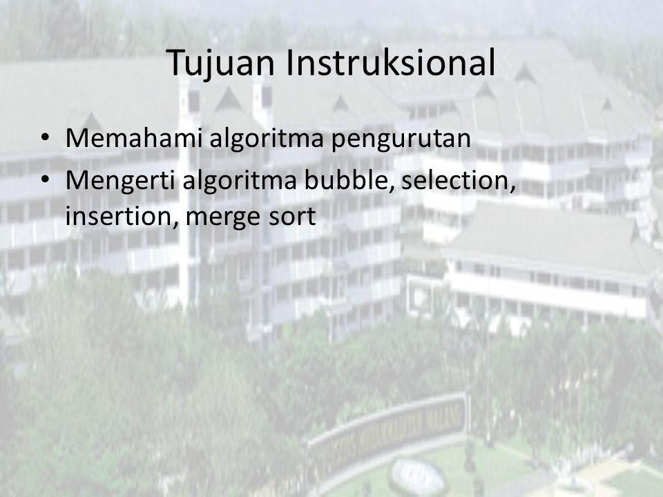 Tujuan Instruksional Memahami algoritma pengurutan Mengerti algoritma bubble, selection, insertion, merge sort