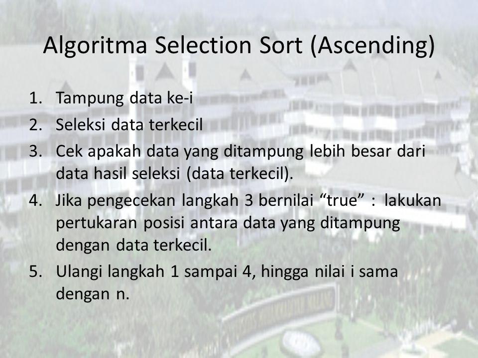 Algoritma Selection Sort (Ascending) 1.Tampung data ke-i 2.Seleksi data terkecil 3.Cek apakah data yang ditampung lebih besar dari data hasil seleksi