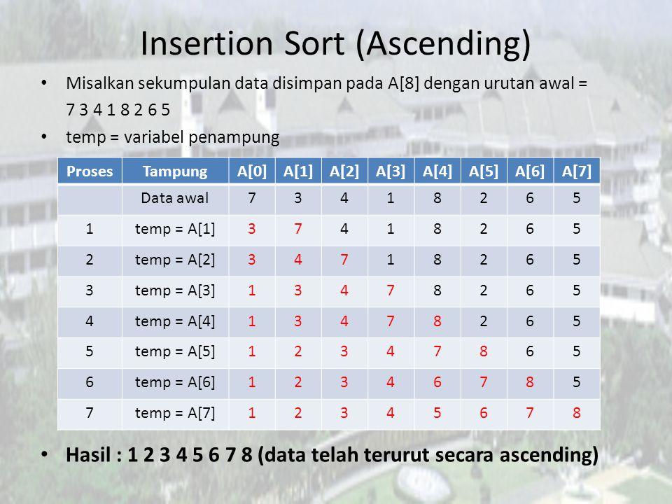 Insertion Sort (Ascending) Misalkan sekumpulan data disimpan pada A[8] dengan urutan awal = 7 3 4 1 8 2 6 5 temp = variabel penampung Hasil : 1 2 3 4