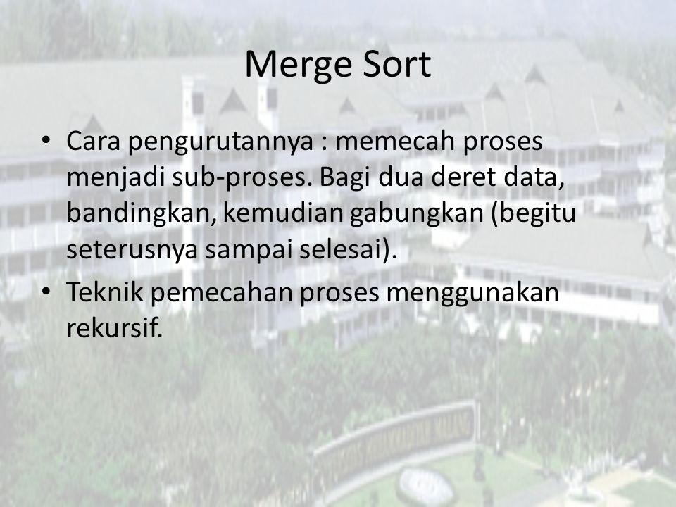 Merge Sort Cara pengurutannya : memecah proses menjadi sub-proses. Bagi dua deret data, bandingkan, kemudian gabungkan (begitu seterusnya sampai seles